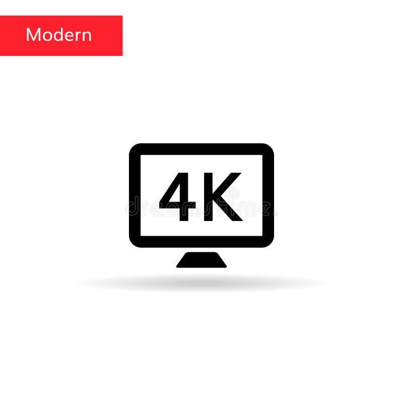 4k εικονίδιο TV 4k σημάδι στην οθόνη οργάνων ελέγχου ελεύθερη απεικόνιση δικαιώματος