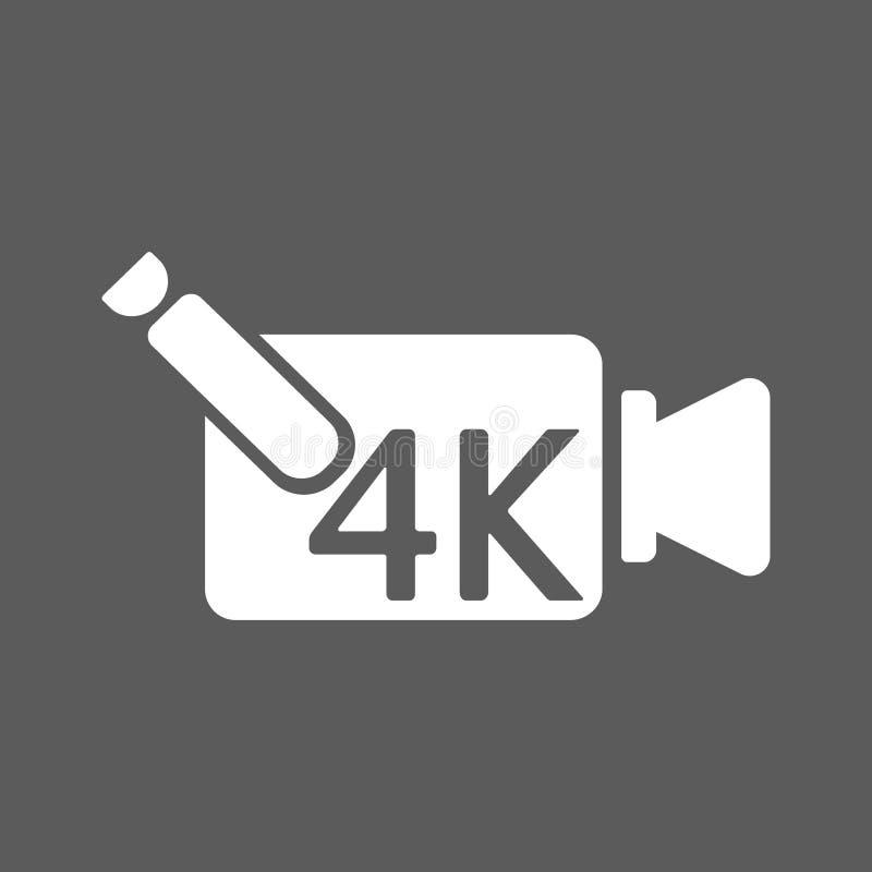 4k εξαιρετικά hd εικονίδιο βίντεο εγγραφής που απομονώνεται στο υπόβαθρο διάνυσμα διανυσματική απεικόνιση