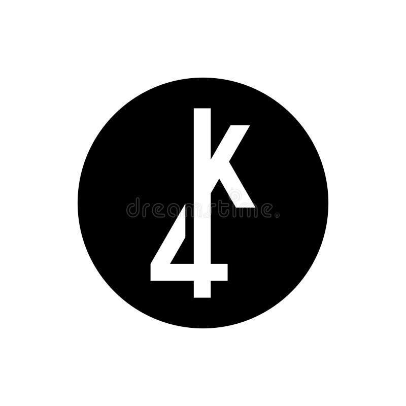 4k εξαιρετικά hd τηλεοπτικό σημάδι Στρογγυλό εικονίδιο με συνδεδεμένο Κ ελεύθερη απεικόνιση δικαιώματος