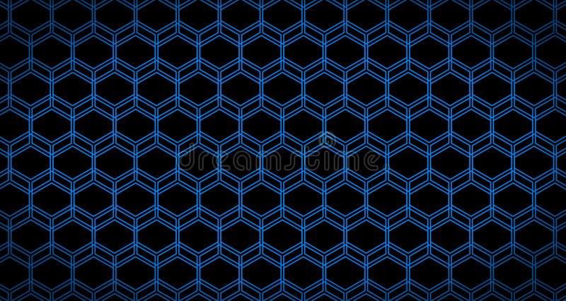 4k ο Hexagon γλιστρημένοι υπόβαθρο Μαύρος και μπλε ζωτικότητας σχεδίων κύβων στοκ φωτογραφία με δικαίωμα ελεύθερης χρήσης