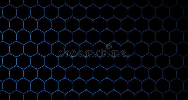 4k ο Hexagon Μαύρος και μπλε ζωτικότητας σχεδίων κυττάρων υποβάθρου στοκ φωτογραφία με δικαίωμα ελεύθερης χρήσης