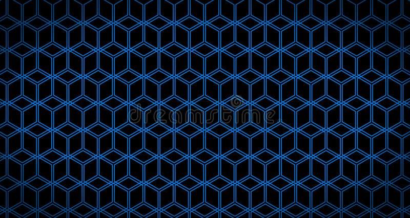 4k ο Hexagon Μαύρος και μπλε ζωτικότητας σχεδίων κύβων υποβάθρου στοκ εικόνες