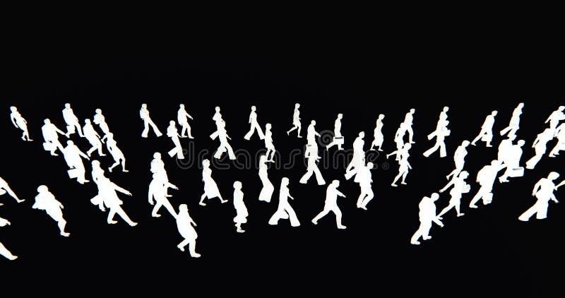 4k πλήθος των ανθρώπων που περπατούν, άσπρη σκιαγραφία επιχειρηματιών στο μαύρο υπόβαθρο ελεύθερη απεικόνιση δικαιώματος
