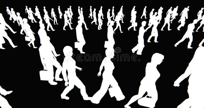 4k πλήθος των ανθρώπων που περπατούν, άσπρη σκιαγραφία επιχειρηματιών στο μαύρο υπόβαθρο διανυσματική απεικόνιση