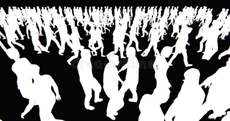 4k πλήθος των ανθρώπων που περπατούν, άσπρη σκιαγραφία επιχειρηματιών στο μαύρο υπόβαθρο απεικόνιση αποθεμάτων