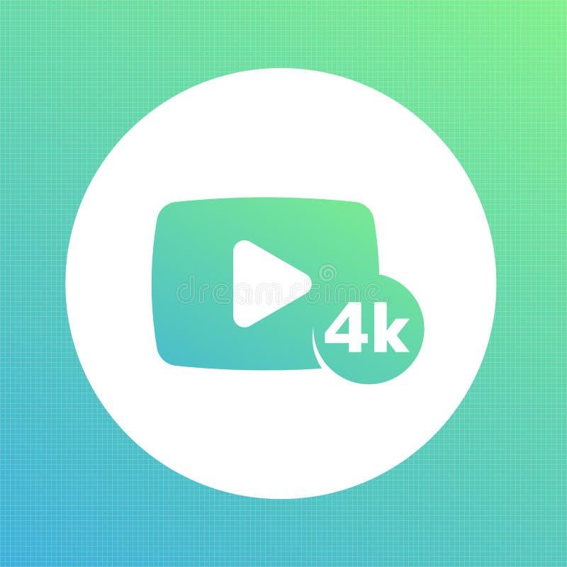 4K τηλεοπτικό ικανοποιημένο εικονίδιο απεικόνιση αποθεμάτων