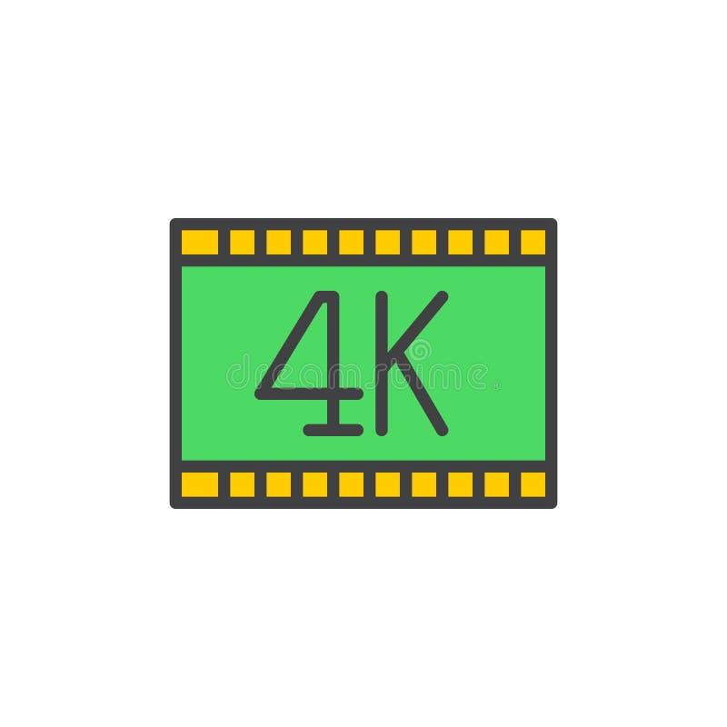 4k το βίντεο γέμισε το εικονίδιο περιλήψεων, διανυσματικό σημάδι απεικόνιση αποθεμάτων