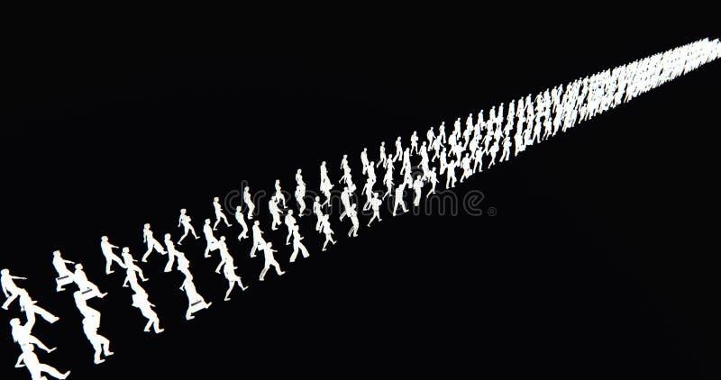 4k το πλήθος των ανθρώπων που περπατούν μετατράπηκε σε σειρά σειρών, σκιαγραφία επιχειρηματιών, μήτρα στρατού απεικόνιση αποθεμάτων