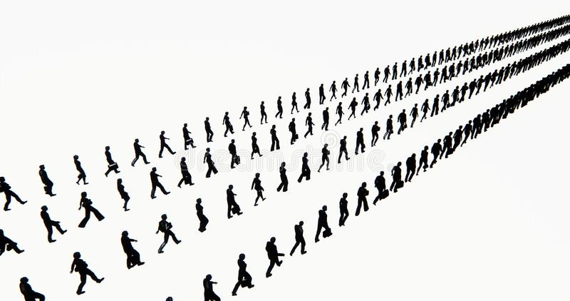 4k το πλήθος των ανθρώπων που περπατούν μετατράπηκε σε σειρά σειρών, σκιαγραφία επιχειρηματιών, μήτρα στρατού διανυσματική απεικόνιση