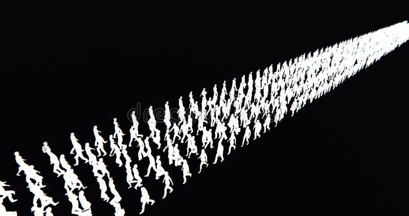 4k το πλήθος των ανθρώπων που περπατούν μετατράπηκε σε σειρά σειρών, σκιαγραφία επιχειρηματιών, μήτρα στρατού ελεύθερη απεικόνιση δικαιώματος