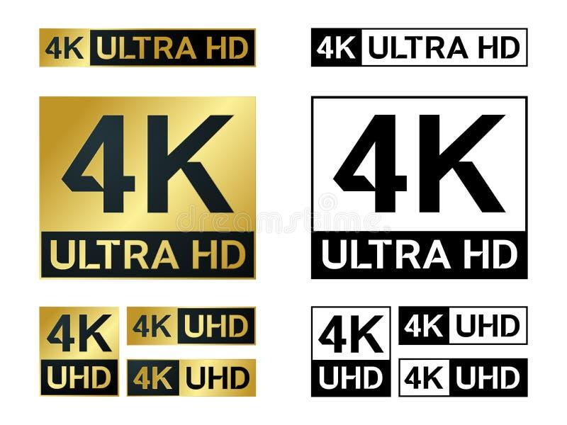 4k υπερβολικό εικονίδιο Hd Διανυσματικό 4K σύμβολο TV UHD του υψηλού καθορισμού απεικόνιση αποθεμάτων