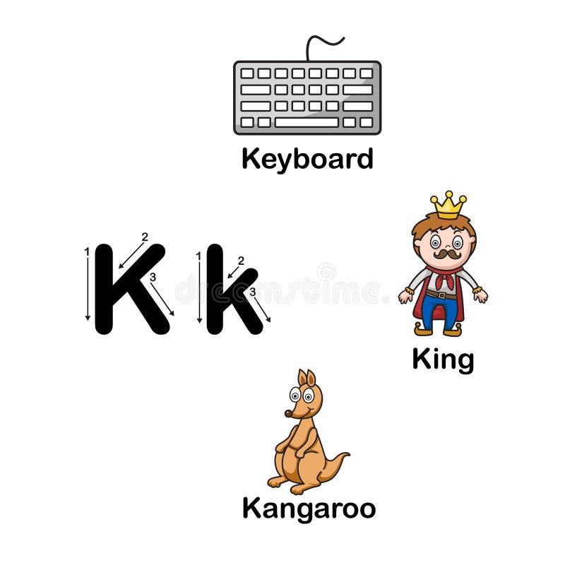 K-клавиатура письма алфавита, король, кенгуру иллюстрация вектора