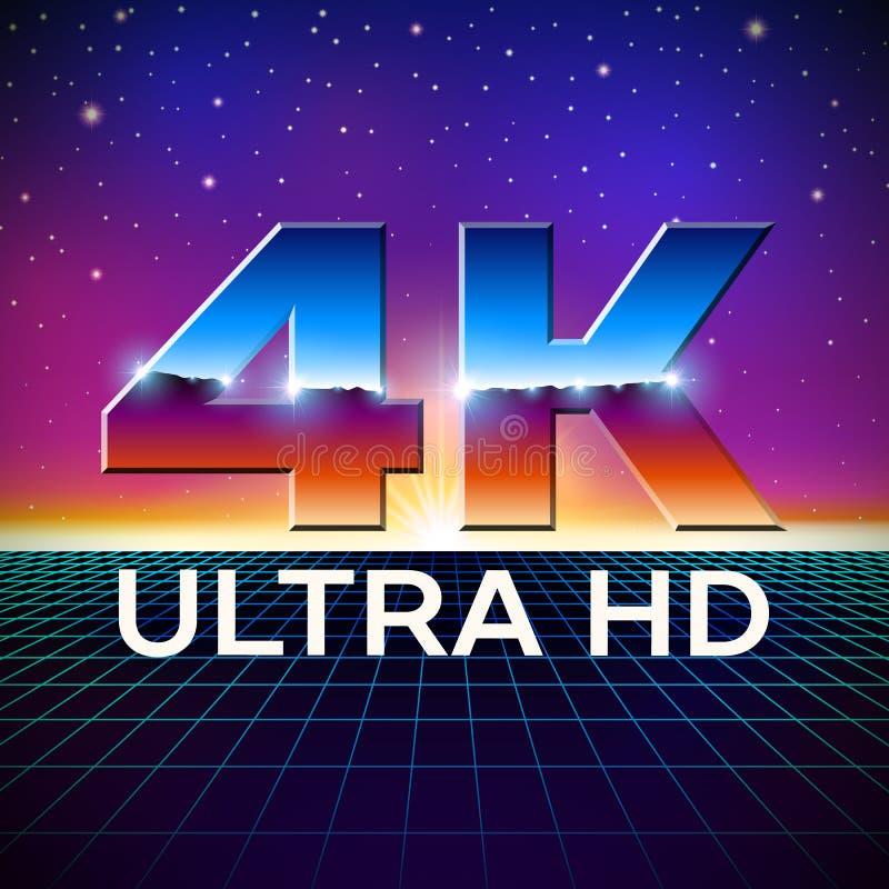 4k логотип формата ультра HD с сияющими письмами хрома иллюстрация штока