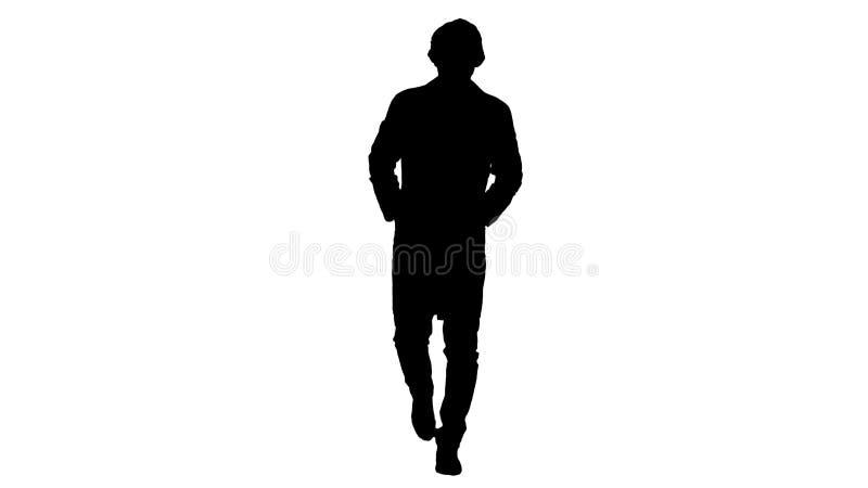 Σκιαγραφία που περπατά το νέο αρσενικό γιατρό που φορά τη χειρουργική μάσκα απεικόνιση αποθεμάτων