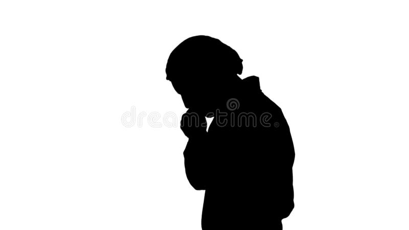 Περπάτημα ατόμων γιατρών σκιαγραφιών που τονίζεται με το χέρι στο κεφάλι, που συγκλονίζεται με το πρόσωπο ντροπής και έκπληξης, 0 διανυσματική απεικόνιση