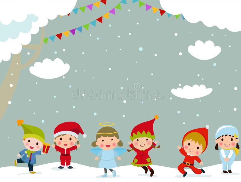 Cute kids wearing Christmas costumes. Illustration of cute kids wearing Christmas costumes royalty free illustration