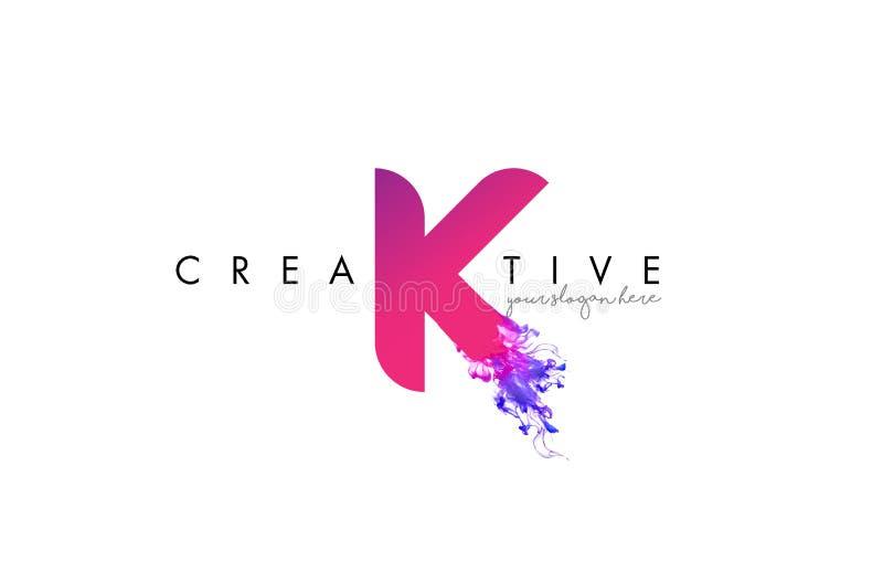 K Brief Logo Design met de Stromende Textuur van de Inktwolk royalty-vrije illustratie