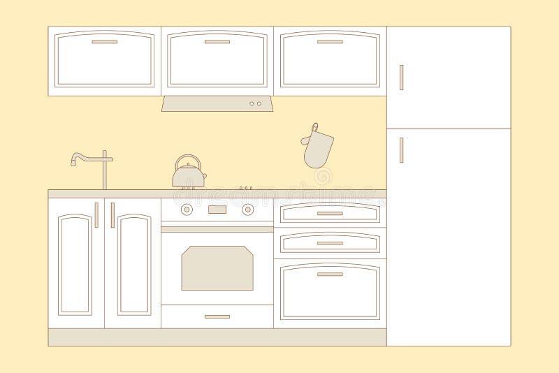 K?chenhauptinnenraum Innenmöbel: Kühlschrank, Ofen, Schrank, Haube, Kessel, HANDSCHUH, Ofen HANDSCHUH, Wanne, Hahn Auch im corel  lizenzfreie abbildung