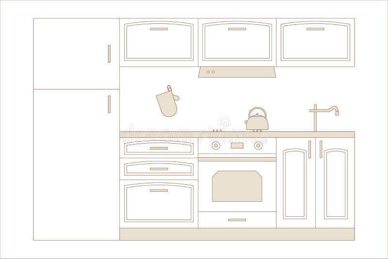K?chenhauptinnenraum Innenmöbel: Kühlschrank, Ofen, Schrank, Haube, Kessel, HANDSCHUH, Ofen HANDSCHUH, Wanne, Hahn Auch im corel  vektor abbildung
