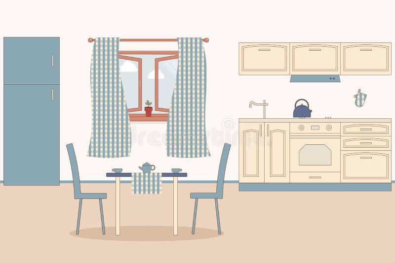 K?chenhauptinnenraum Innenmöbel: Kühlschrank und Ofen und Schrank und Haube, Kessel, HANDSCHUH, Ofen HANDSCHUH, Wanne, Hahn Vekto lizenzfreie abbildung