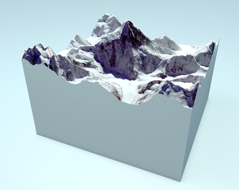 K2 cutaway section. Himalaya mountains vector illustration