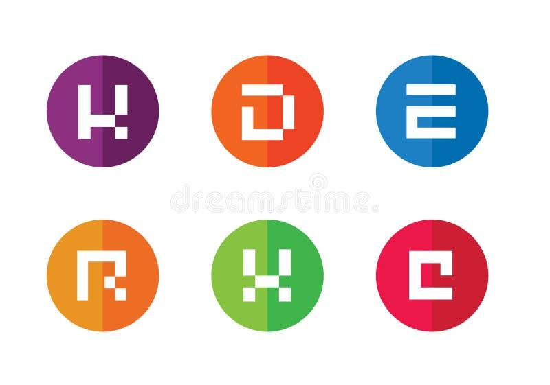K, D, E, R, X, C Aanvankelijk Logo Design, Willekeurige Reeks van Kleurrijke Vlakke IconsK, D, E, R, X, C Aanvankelijk Logo Desig royalty-vrije illustratie