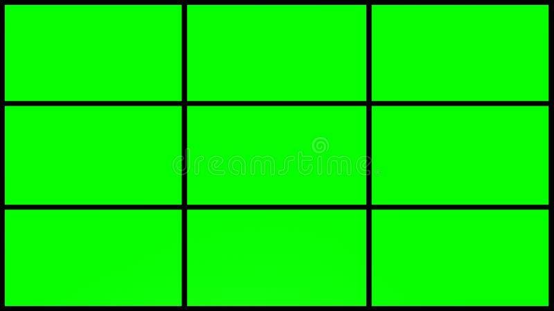 4k 9 delar grönt skärmraster med svarta ramar royaltyfri bild