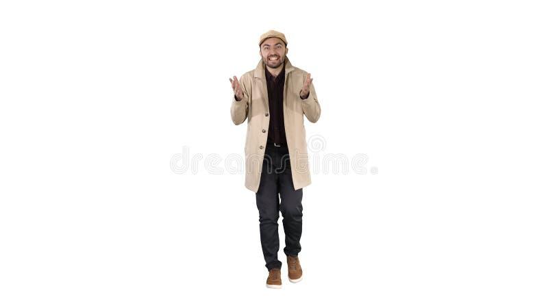 走和做姿态的好工作好了人在白色背景 免版税图库摄影