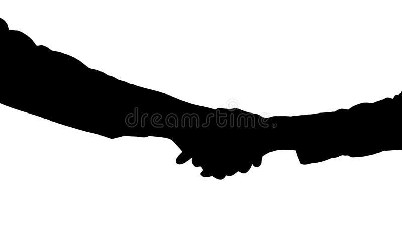 美国黑人和白种人女性手剪影握手  免版税图库摄影