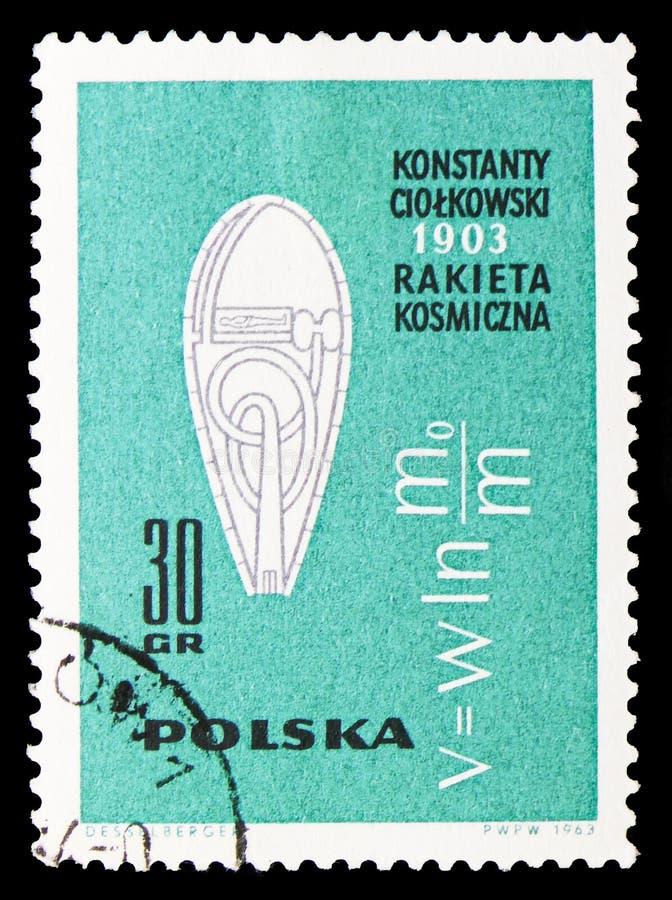 K e Tsiolkovskys Raketen- und Raketengeschwindigkeitsformel, amerikanisches und russisches Raumfahrzeuge serie, circa 1963 vektor abbildung