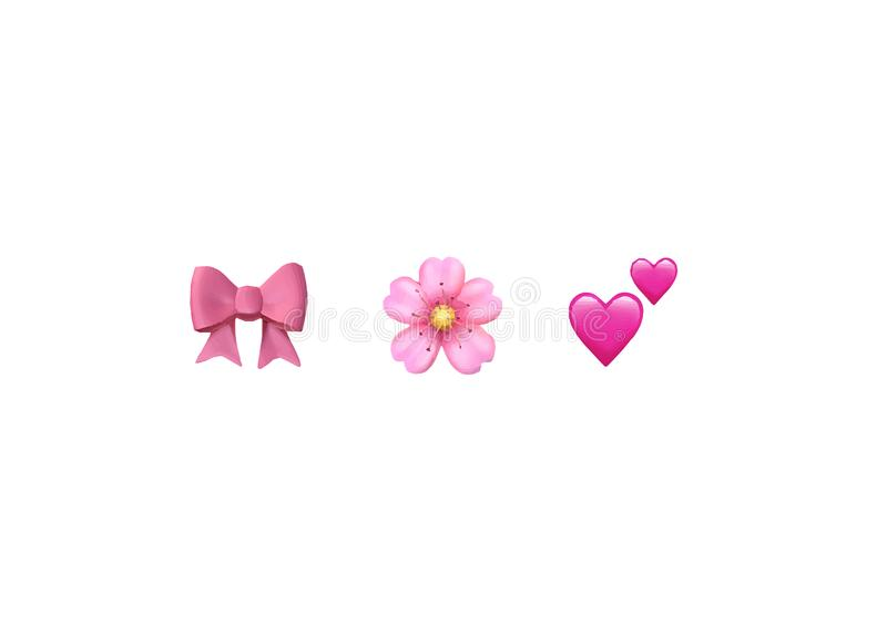 Emoji emoticon reactions color icon set : pink bow, Cherry Blossom, two hearts , vector isolated. On white background stock illustration