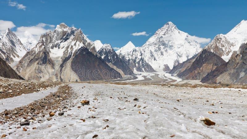 K2 en Baltoro-Gletsjer, Pakistan royalty-vrije stock fotografie