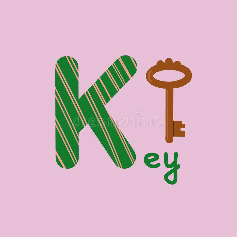 English alphabet for children education, letter K uppercase with word. Cute kids colorful ABC alphabet in cartoon style, flashcard. For learning English vector illustration