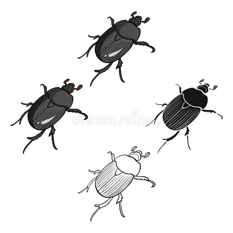 K?fer ist ein coleopterous Insekt Gliederf??er Insekt, einzelne Ikone des K?fers in der Karikatur, schwarzer Artvektor-Symbolvorr lizenzfreie abbildung