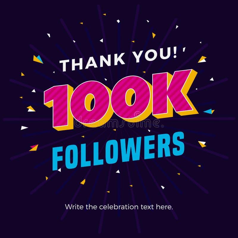 100k followers card banner post template for celebrating many followers in online social media networks. vector illustration