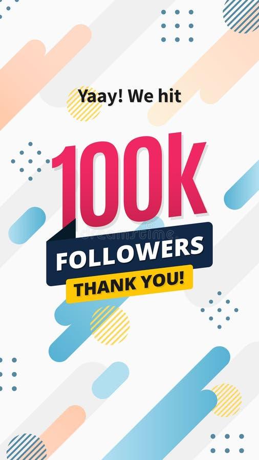 100k followers story post background template design. flyer banner for celebrating many followers in online social media platform stock illustration