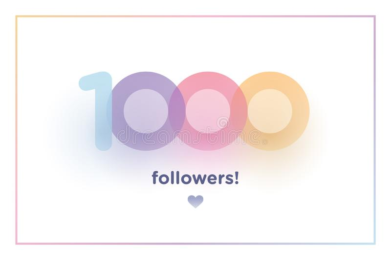 1k or 1000, followers thank you colorful background number with soft shadow. Illustration for Social Network friends, followers,. Web user Thank you celebrate royalty free illustration