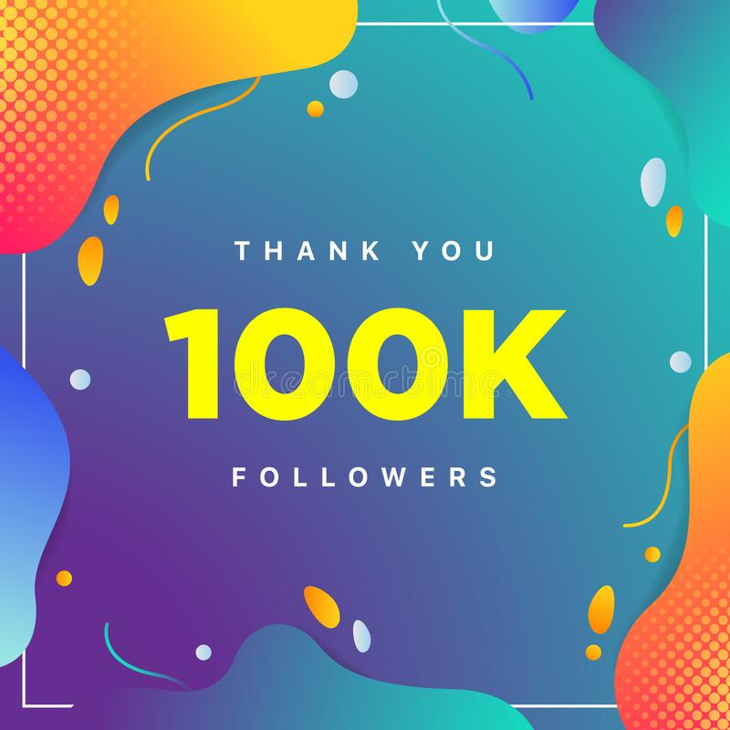100k or 100000, followers thank you colorful geometric background number. abstract for Social Network friends, followers, Web user. Thank you celebrate of stock illustration
