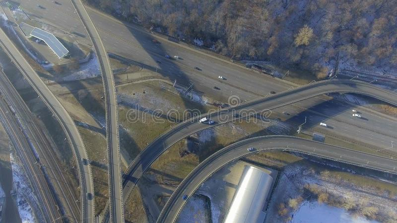 road transport interchange near the winter forest. stock photography