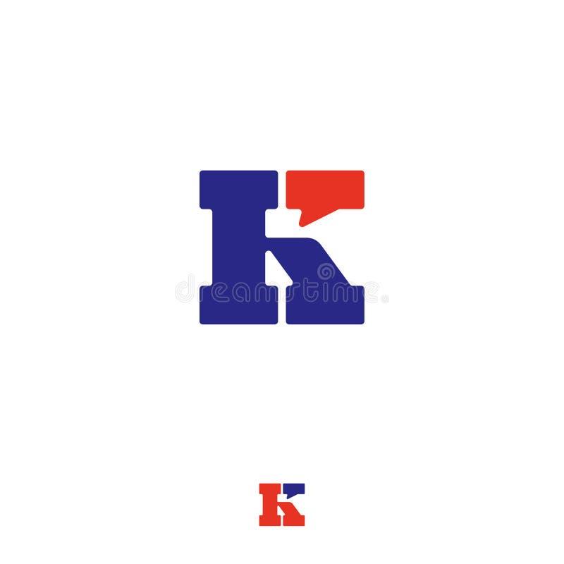 K gadka, UI logo Listowy K z komicznym bąblem Rozmowa, korespondencyjni emblematy ilustracji