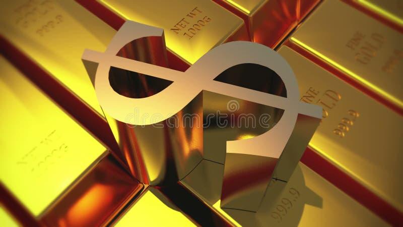 4k Gold Bullion Rotate Dollar Symbolwealth Ingot Luxury Finance Goods