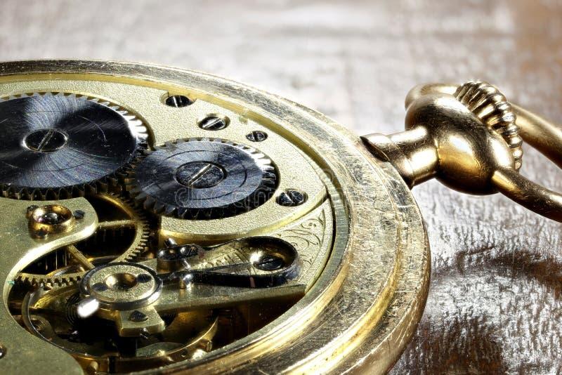 14k gold pocket watch. Clockwork of an antique Swiss 14k gold pocket watch stock photography