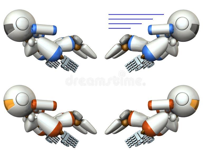 K?hles Roboterfliegen im Himmel stock abbildung