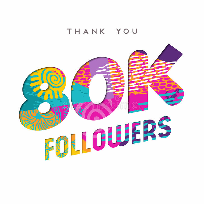 80k Internet Follower Number Thank You Template Stock Vector ...