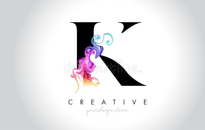 K Leter creativo vibrante Logo Design con la tinta colorida Flo del humo stock de ilustración
