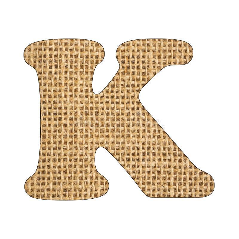 K, Letter of the alphabet - Burlap Background Texture. White background. K, Letter of the alphabet - Burlap Background Texture royalty free stock image