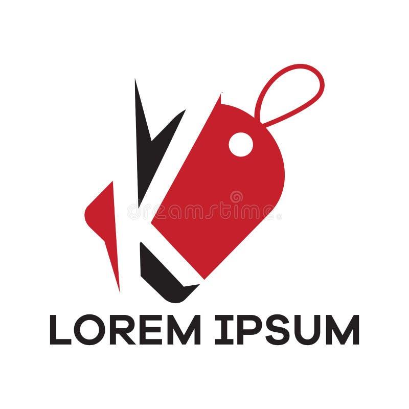 K letter logo design. Letter k in discount tag vector illustration. stock illustration