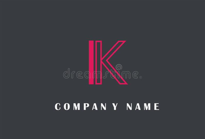 K Letter Logo Design. Line Typography Vector Illustration. K Letter Logo Design. Line Typography Vector Illustration isolated on simple background stock illustration