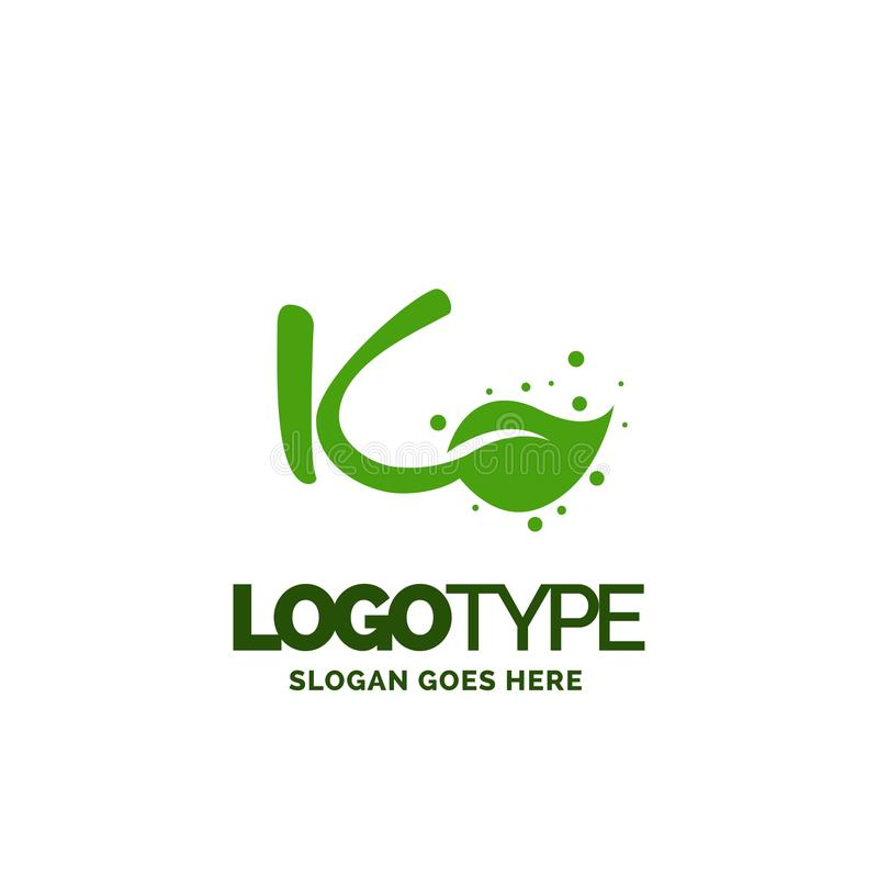 K logo with Leaf Element. Nature Leaf logo designs, Simple leaf. Logo symbol. Natural, eco food. Organic food badges in vector. Vector logos. Natural logos with royalty free illustration