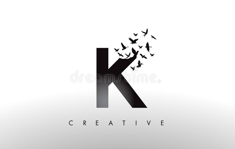 K Logo Letter mit Menge von den Vögeln, die von fliegen und sich auflösen lizenzfreie abbildung
